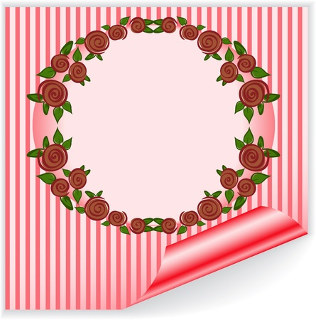 round frame of red roses on the striped sticker with curved corner Vector