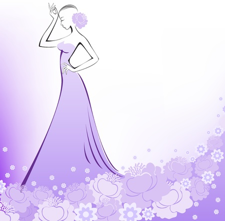 glamorous: woman in a long purple flower dress on a white background