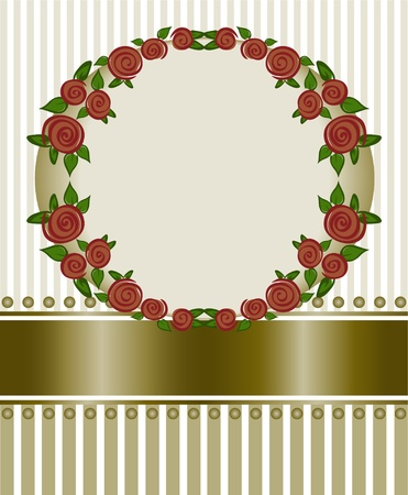 round frame of red roses on a striped background Vector