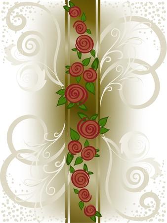 roses rouges sur une bande verticale avec tourbillons Vecteurs