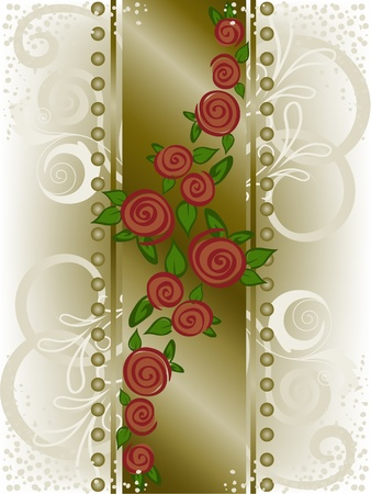 red roses on a vertical strip with curls and beads Vector