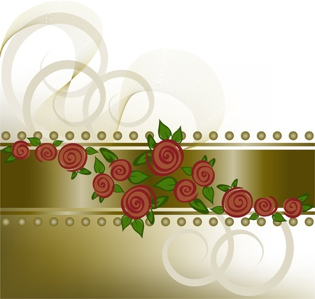diffuse bronze background with red roses on the horizontal strip Vector