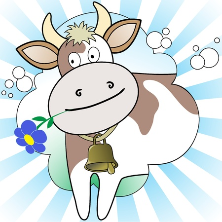 masticate: cow with a flower in radiant white and blue background Illustration