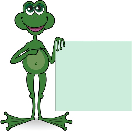 amphibians: green standing frog holds the square poster in a paw Illustration