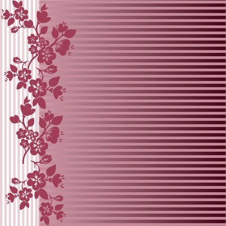 asymmetrical pattern of flowering branches on a striped background Vector