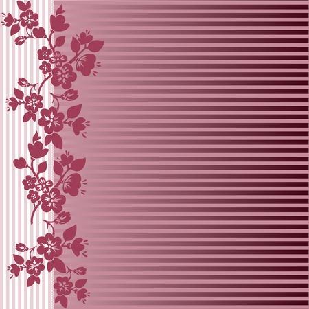 sketch pattern: patr�n asim�trico de ramas de flores sobre un fondo de rayas