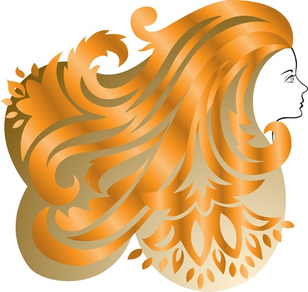 Profile of a girl with lush  red hair  Vector
