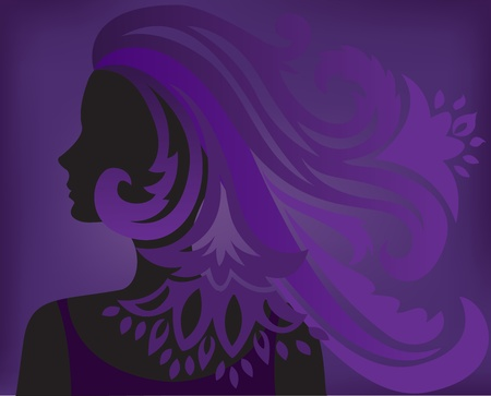 silhouette of a woman with fluffy hair on purple background Vector