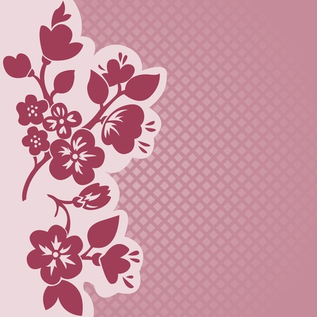 sakura flowers: silhouette of flowering branch on a pink checkered background