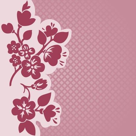 flor de sakura: silueta de la rama floral sobre un fondo de color rosado a cuadros Vectores