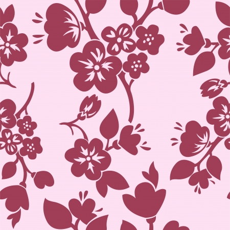 cherry pattern: seamless background with pink flowering branches of cherry and apple trees