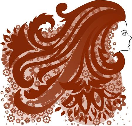 individualit�: Profilo di una ragazza con fiore rigoglioso capelli Vettoriali
