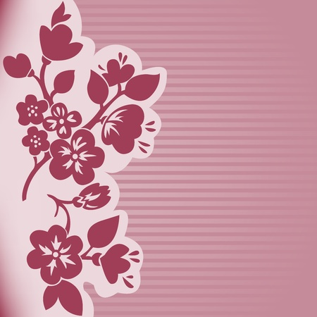 silhouette of flowering branch on a pink striped background