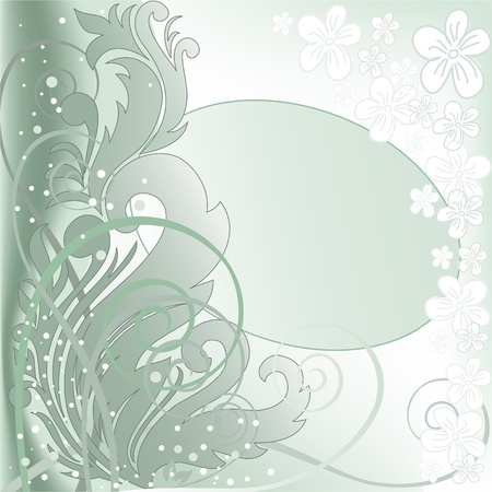 blurred green background with plant composition and an oval frame Stock Vector - 9427020