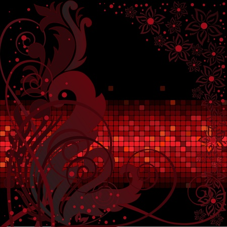 dark background with floral composition on the red band Vector
