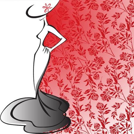 silhouette d'une femme mince dans une longue robe sur un fond de fleurs rouges