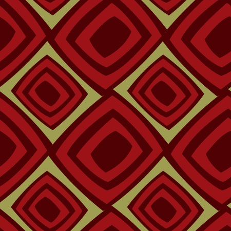 Seamless background from red stylized squares on a green background Vector
