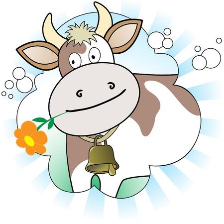cow bells: vaca con una flor de naranja en fondo blanco y azul radiante