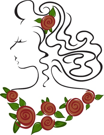 female head with roses on the neck and hair Vector