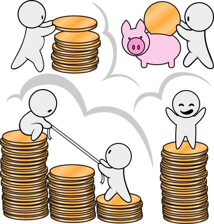 mutual help: Men and many of gold coins Illustration
