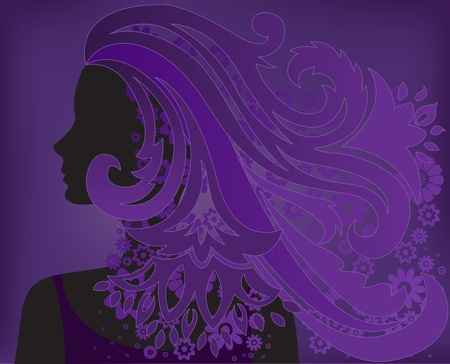 modish: silhouette of a woman with flower hair on purple background