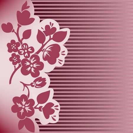 plum blossom: silhouette of flowering branch on dark pink striped background Illustration