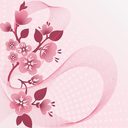 abstract pink background with  flowering branches and the veil Vector