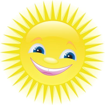 hot lips: curioso sonriente sol con ojos azules Vectores