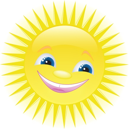 warm climate: funny smiling sun with blue eyes