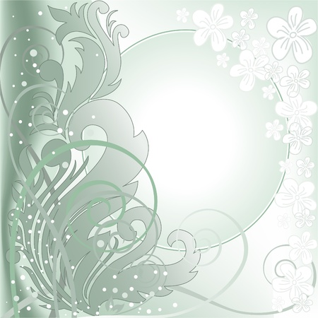 blurred green background with plant composition and white frame Stock Vector - 9494992