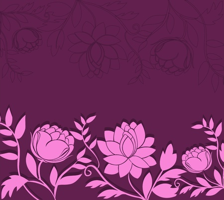 Dark purple background with a horizontal pink flowers Vector