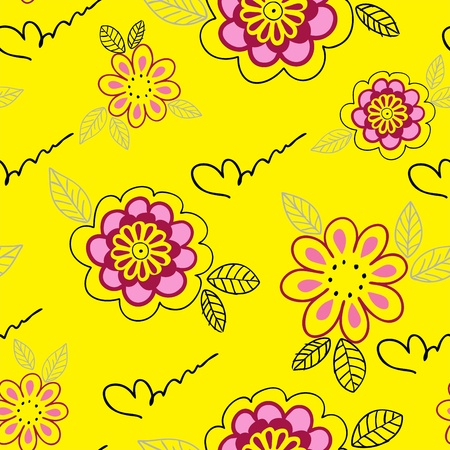 yellow seamless pattern from simple hand-drawn flowers Vector
