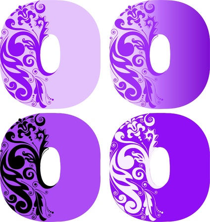 A set of four letters O different color. Other letters refer to my portfolio Vector