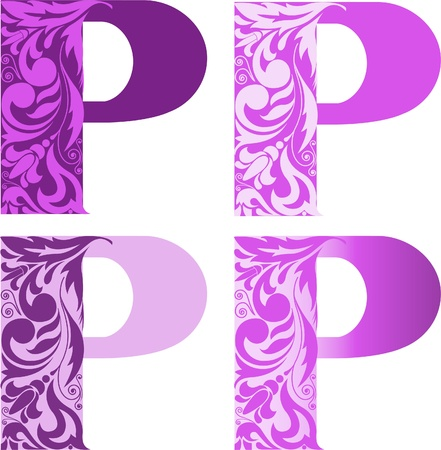 A set of four letters P different color. Other letters refer to my portfolio Vector