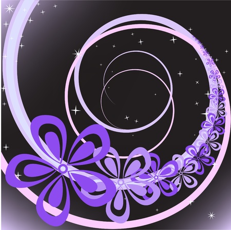 abstract black background with purple flowers Stock Vector - 9494988