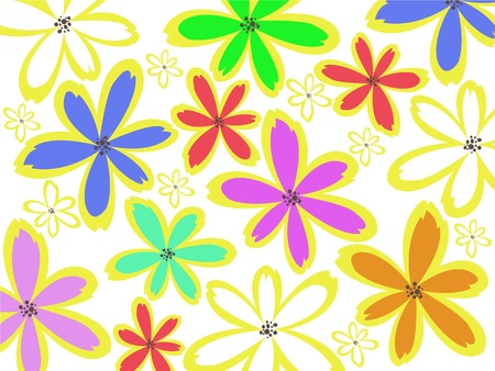colorful flowers of vaus sizes on a white background Stock Vector - 9495007