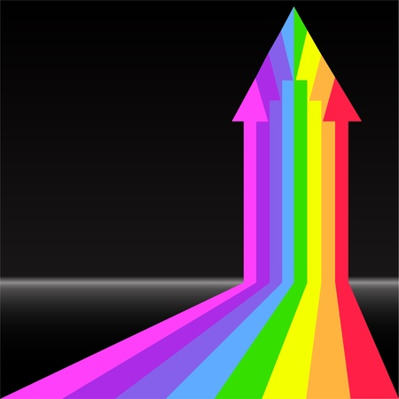 growth enhancement: arrow from the rainbow stripes on a black background Illustration