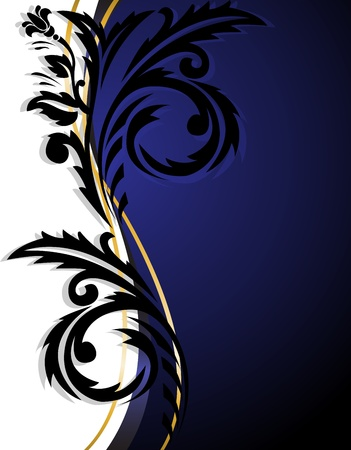abstract white-blue background with vertical black ornament Vector