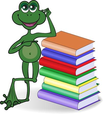 libro caricatura: rana gracioso, apoy�ndose en una alta pila de libros de colores