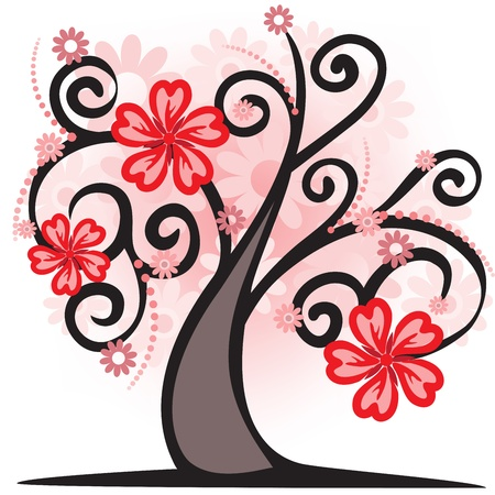 fantasy tree with a pink krone of flowers Stock Vector - 9495024
