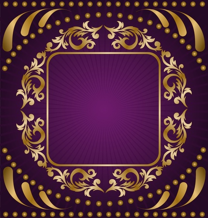 vintage frame from the golden ornament on a purple background Vector