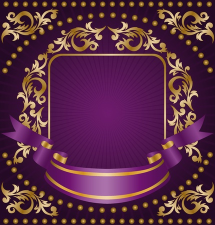 royal background: frame made from the golden ornament and silk ribbon on a purple background