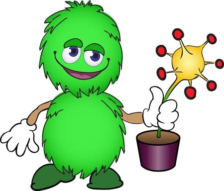 Linda criatura verde esponjoso con una planta amarilla en un bote Ilustración de vector