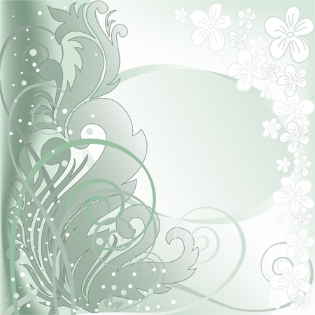 blurred green background with plant composition and a double frame Stock Vector - 9529044