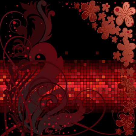 dark background with light floral composition of the side Vector