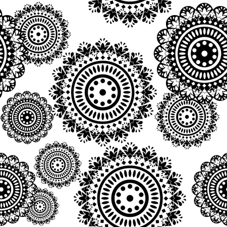 wallpaper rings: seamless pattern of round black and white ornaments Illustration
