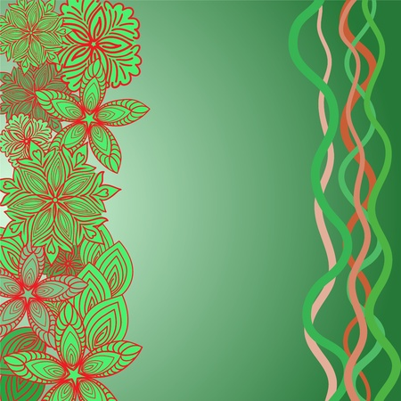 asymmetrical: asymmetrical green background with flowers and ribbons