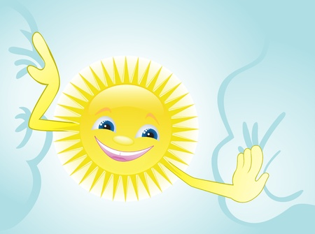 cheerful sun move clouds Stock Vector - 9529028