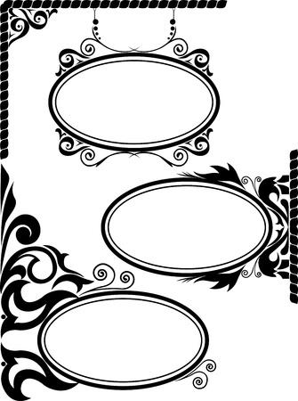 �valo: conjunto de tres siluetas negras de marcos ovales