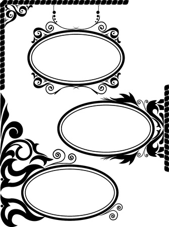 oval frame: set of three black silhouettes of oval frames Illustration
